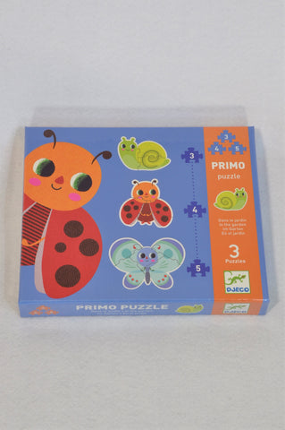 New Djeco In the Garden Primo Set of 3 Puzzles Unisex 2-4 years