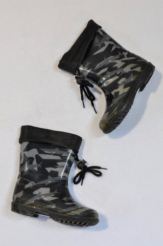 Unbranded Navy Blue & Grey Camo Wellington Boots Boys 2-3 years