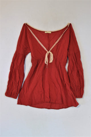 Alexandra Hojer Red Long Sleeve Top Women Size XS