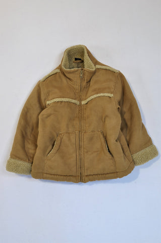 Next Faux Fur & Micro Suede Tan Bomber Jacket Boys 2-3 years