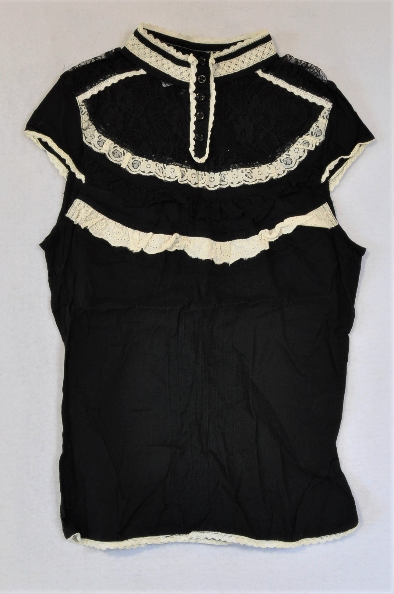 H&M Black With Lace Detail Blouse Women Size XS