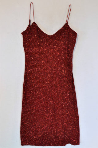 Jodi Kristopher Red Glitter Dress Women Size S