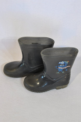 Unbranded Size 7 Grey Monster Wellington Boots Boys 2-3 years