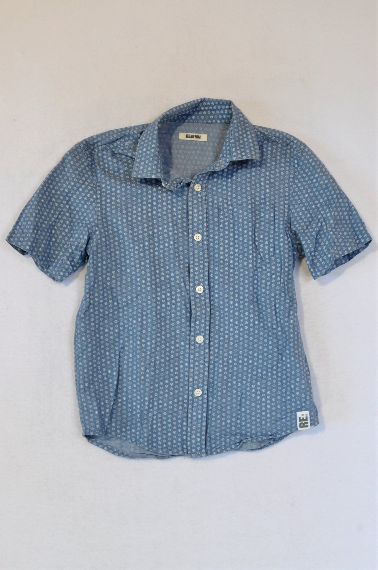 Woolworths Blue With Pattern Button Up Top Boys 9-10 years