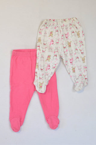 Ackermans 2 Pack Pink & White Bunny Footed Leggings Girls 3-6 months