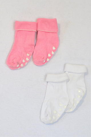Unbranded 2 Pack Pink & White Grip Socks Girls N-B to 6 months