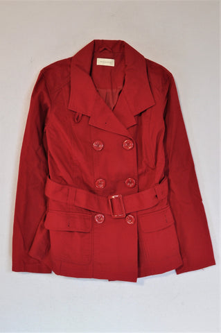Woolworths Red Trenchcoat Jacket Women Size 10