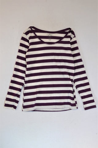 Pick 'n Pay White And Purple Striped Long Sleeve T-shirt Women Size M