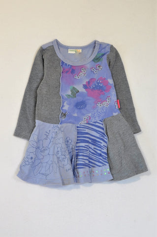 Naartjie Purple Floral Patch & Grey Ribbed Tunic Top Girls 6-12 months