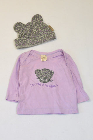 Bush Babes Kitty Ear Beanie & Lilac & Grey Cheetah Spotted in Africa T-shirt Girls 6-12 months