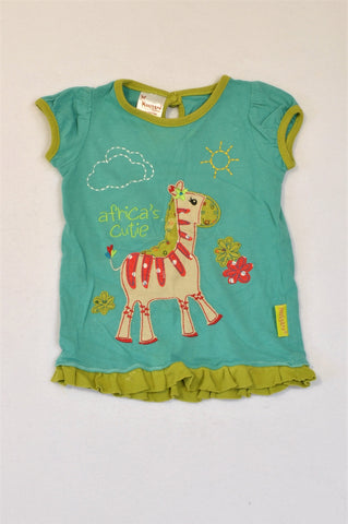 Hooligans Green & Teal Africa's Cutie T-shirt Girls 1-2 years