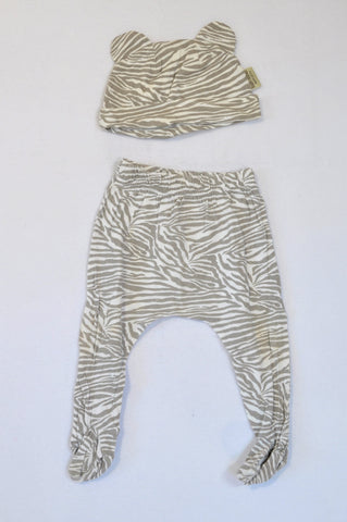 Bush Babes Ear Detail Beanie & Beige Zebra Print Footed Leggings Unisex 6-12 months