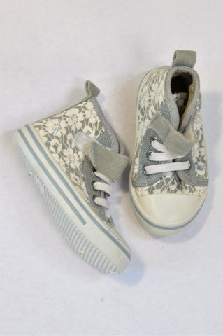Jet Size 4 Light Denim White Lace Print Velcro Strap High-top Shoes Girls 12-18 months