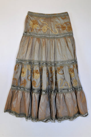 Noblewear Brown Embroidered Blue Lace Trim Skirt Women Size 30