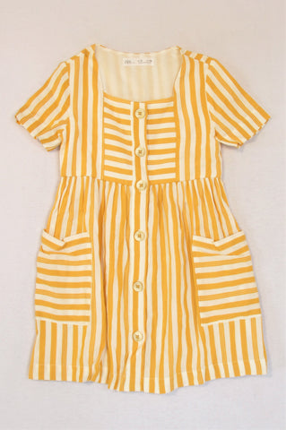 Zara Mustard And White Dress Girls 5-6 years