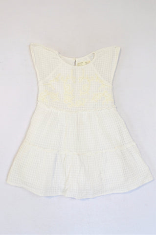 Zara White With Bead Design Dress Girls 5-6 years
