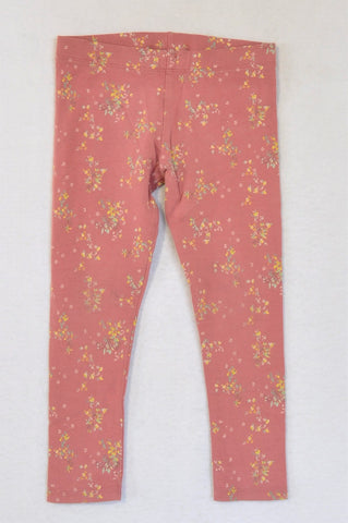Next Salmon Pink Spring Floral Pattern Leggings Girls 4-5 years