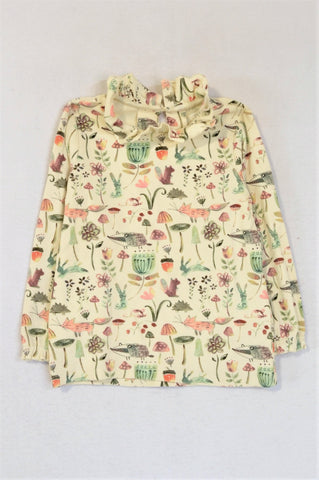Next Beige Forest Creatures Long Sleeve Ruffle Neck T-shirt Girls 4-5 years