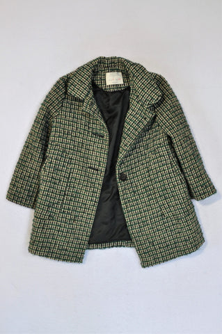 Zara Green & Black Houndstooth Coat Girls 5-6 years