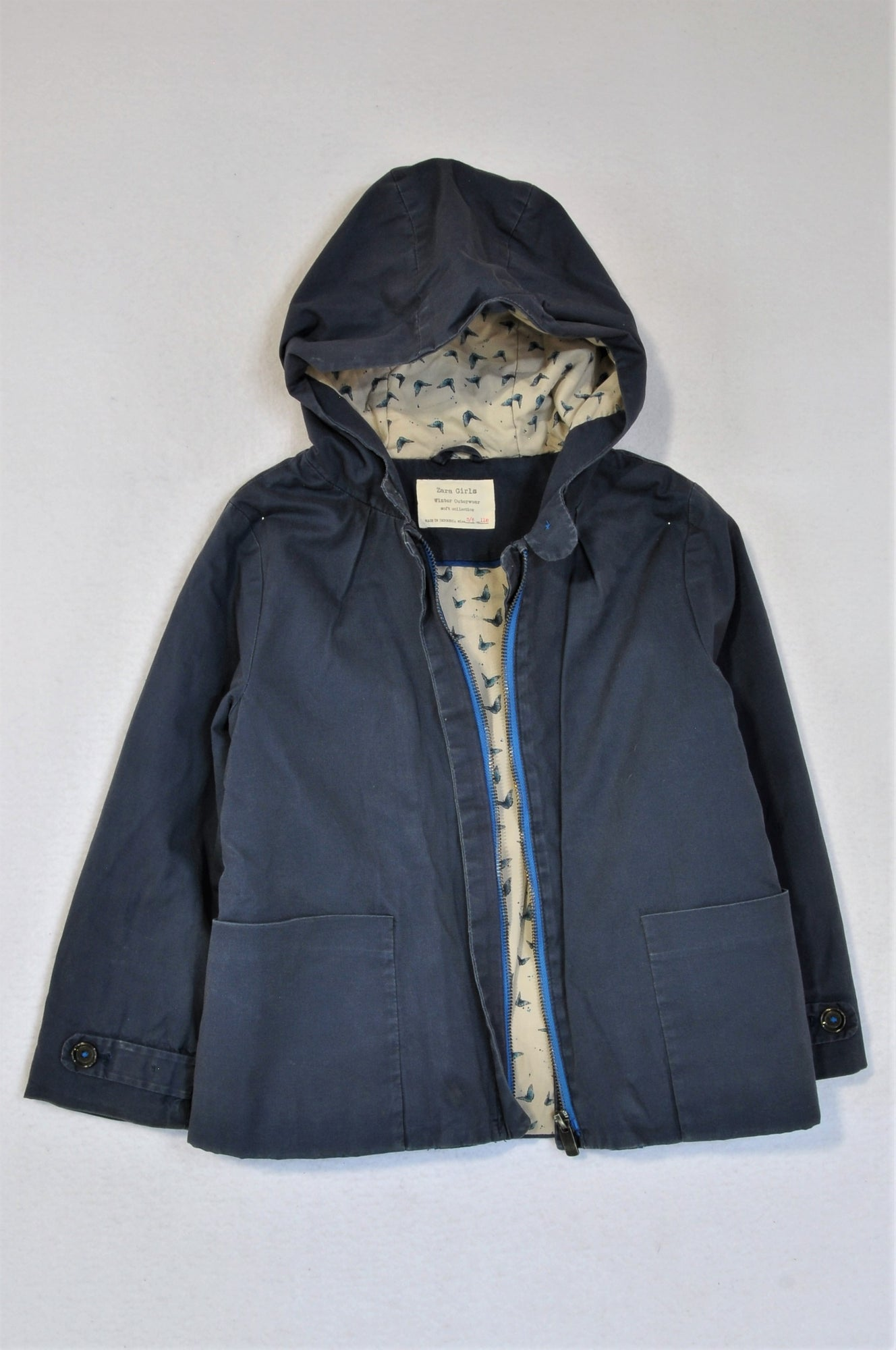 Zara Blue With Butterfly Lining Jacket Girls 5-6 years