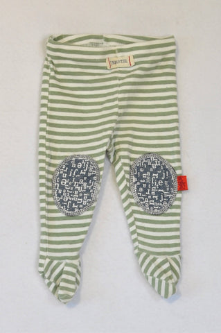Naartjie Green Stripe Denim Knee Patch Footed Leggings Unisex 0-3 months