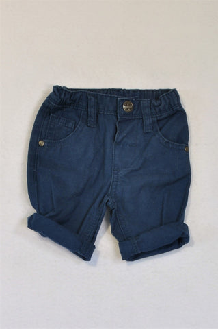 Naartjie Navy Roll Up Chino Shorts Boys 3-6 months