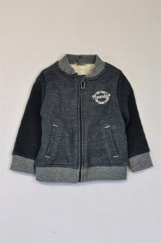 Naartjie Heathered Navy Fleece Lined Quilted Zip Jacket Unisex 6-12 months