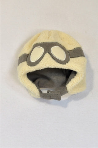 Woolworths Cream & Grey Fleece Aviator Beanie Unisex 3-6 months