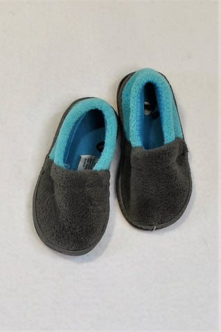 Unbranded Size 3/4 Grey & Bright Blue Fleece Slippers Unisex 9-12 months