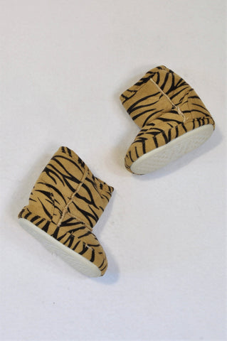 Unbranded Size 2 Fleece Lined Microsuede Tiger Print Booties Unisex 6-9 months