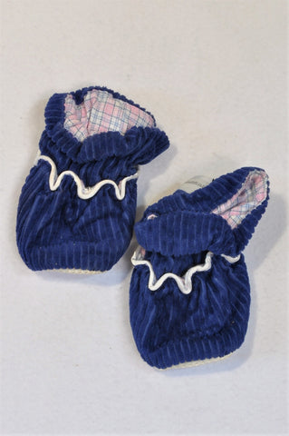 Aroma Soothz Size 3 Blue Corduroy Heat Up Slippers Unisex 9-12 months