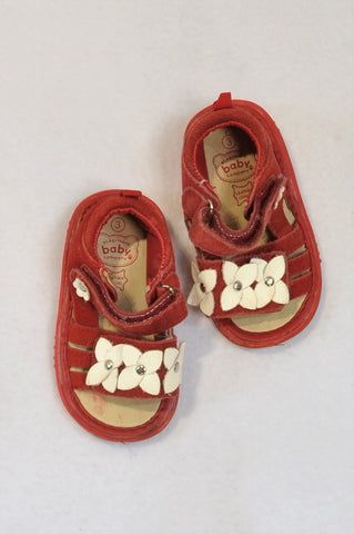 Ackermans Size 3 Red Leather White Flower Sandals Girls 9-12 months