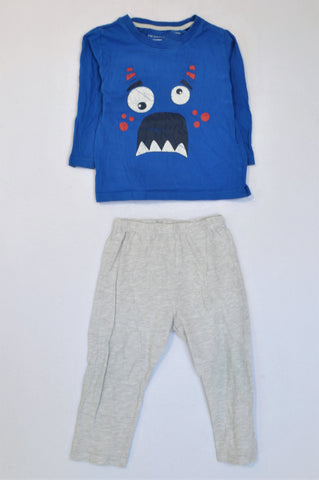 Primark Blue & Grey Monster Face Pyjamas Boys 2-3 years