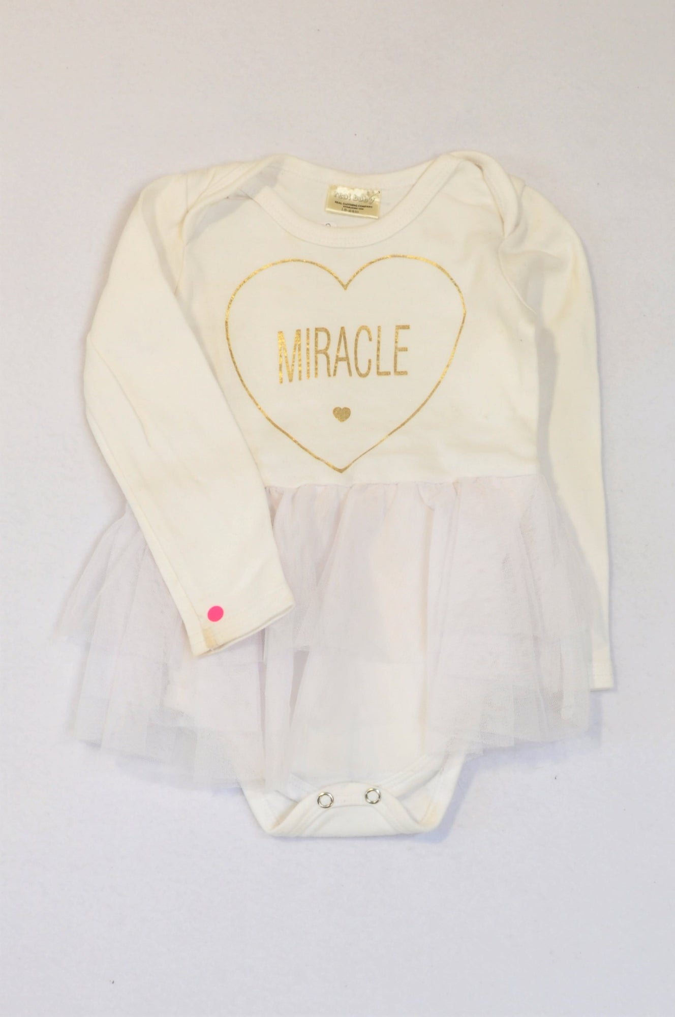 Pick 'n Pay White & Gold Miracle Tulle Long Sleeve Baby Grow Girls 18-24 months