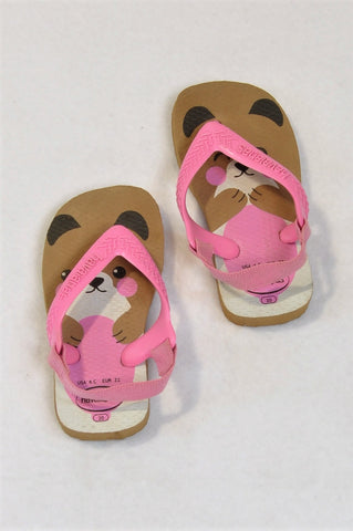 Havaianas Size 6 Pink & Tan Bear Face Strappy Flip Flops Girls 18 months to 3 years