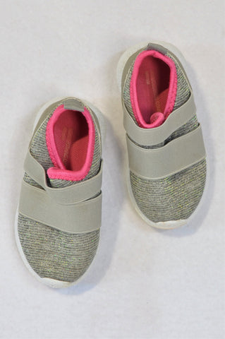 Pick 'n Pay Grey Glitter Ribbed Double Elastic Strap Shoes Girls 18-24 months