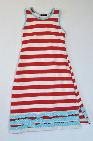 Unbranded Red & White Stripe Aqua Frill Maxi Dress Girls 5-6 years
