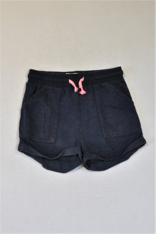 Cotton On Roll Up Navy Lumo Drawstring Shorts Girls 5-6 years