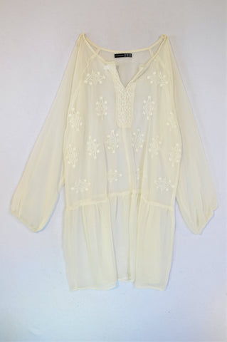 Atmosphere White Sheer Embroidered Tunic Blouse Women Size 12