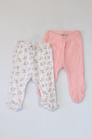 Ackermans 2 Pack White & Pink Sheep Footed Leggings Girls 0-3 months
