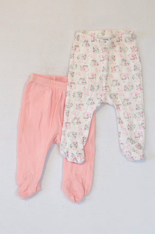Ackermans 2 Pack Pink & White Little Lamb Footed Leggings Girls 0-3 months