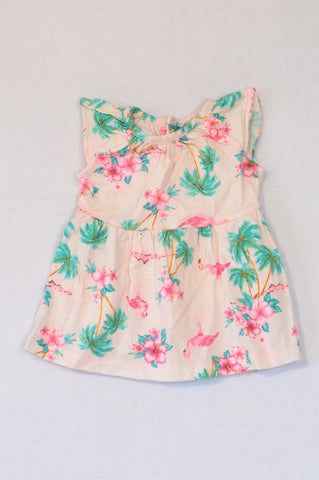 Carter's Pink Tropical Flamingo Dress Girls 0-3 months