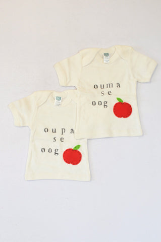 Ackermans 2 Pack Ouma & Oupa se Oog T-Shirts Unisex 0-3 months