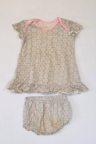 Woolworths Grey & Pink Ditsy Frill Top & Bloomers Girls 6-12 months
