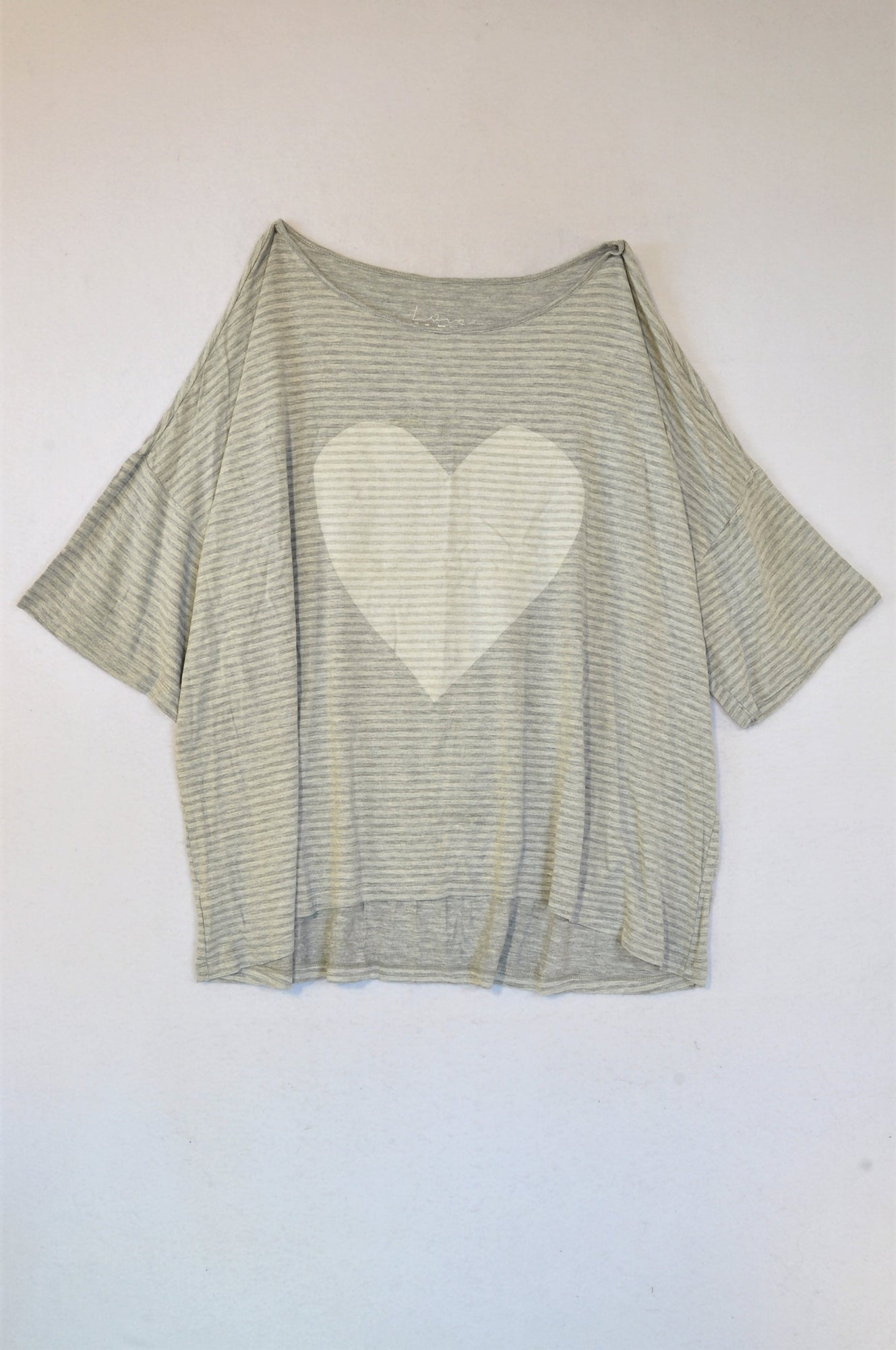 Woolworths Grey Striped Heart Sleep T-Shirt Women Size XL