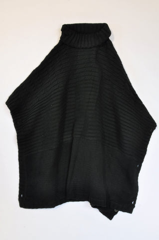 Edit Collection Black High Neck Knit Poncho Jersey Women Size 34