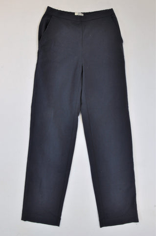Woolworths Navy Stretch Banded Straight Leg Formal Pants Women Size 8