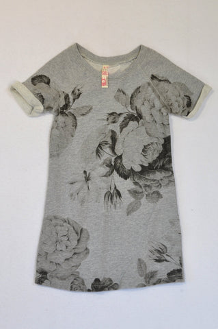 Pick 'n Pay Grey Floral Dress Girls 4-5 years