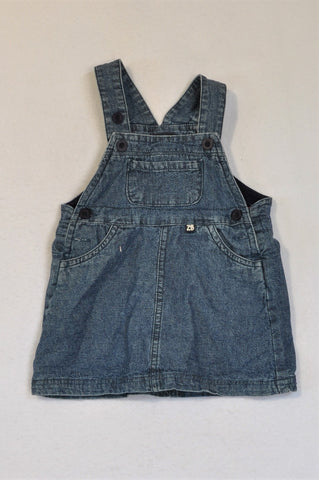 ZBaby Chambray Navy Lined Dungaree Dress Girls 9-12 months