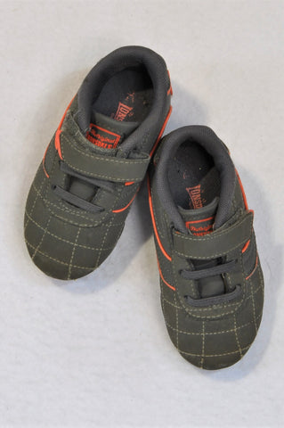 Lonsdale Size 5 Grey & Orange Velcro Sneaker Shoes Boys 18-24 months